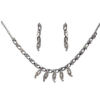 Kriaa White Austrian Stone Rhodium Plated  Necklace Set - 1104203