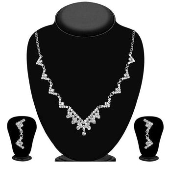 Eugenia Austrian Stone Rhodium Plated Necklace Set - 1104301