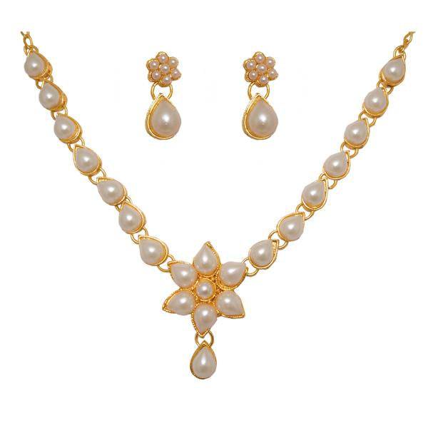 Kriaa Pearl Floral Design Gold Plated Necklace Set