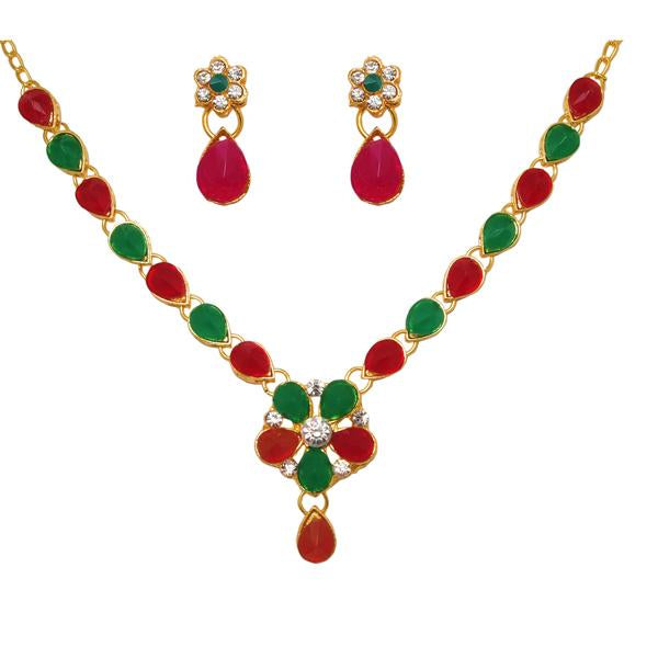 Kriaa Gold Plated Pota Stone Floral Design Necklace Set