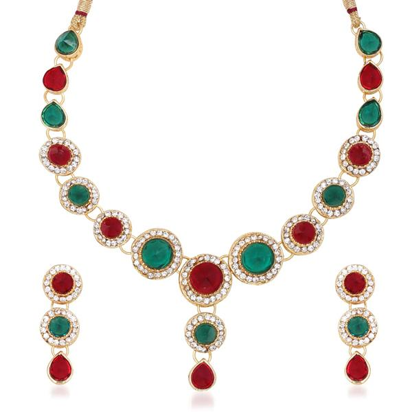 Kriaa Austrian Stone Gold Plated Necklace Set