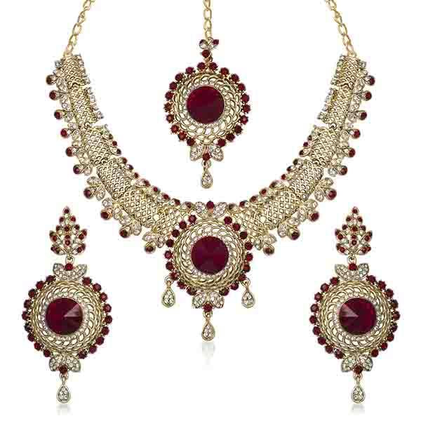 Kriaa Austrian Stone Gold Plated Necklace Set With Maang Tikka - 1105310