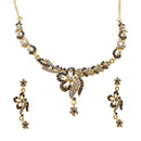 Kriaa Purple Austrian Stone Gold Plated Necklace Set