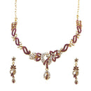 Kriaa Purple Austrian Stone Drop Gold Plated Necklace Set