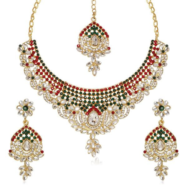 Kriaa Gold Plated Maroon & Green Austrian Stone Necklace Set With Maang Tikka
