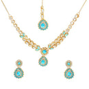 Kriaa Gold Plated Blue Kundan Stone Necklace Set With Maang Tikka
