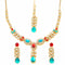 Kriaa Gold Plated Maroon & Blue Kundan Necklace Set With Maang Tikka