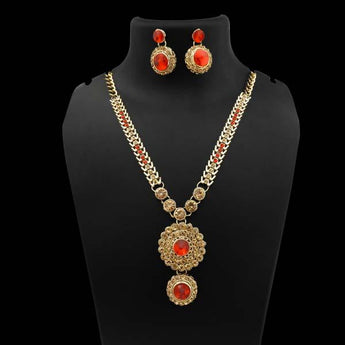 Kriaa Gold Plated Red Austrian Stone Necklace Set - 1106306