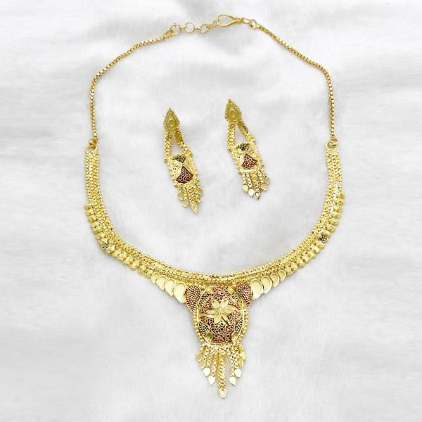 Neu Gold Meenakari Forming Gold Plated Copper Necklace Set - 1107883