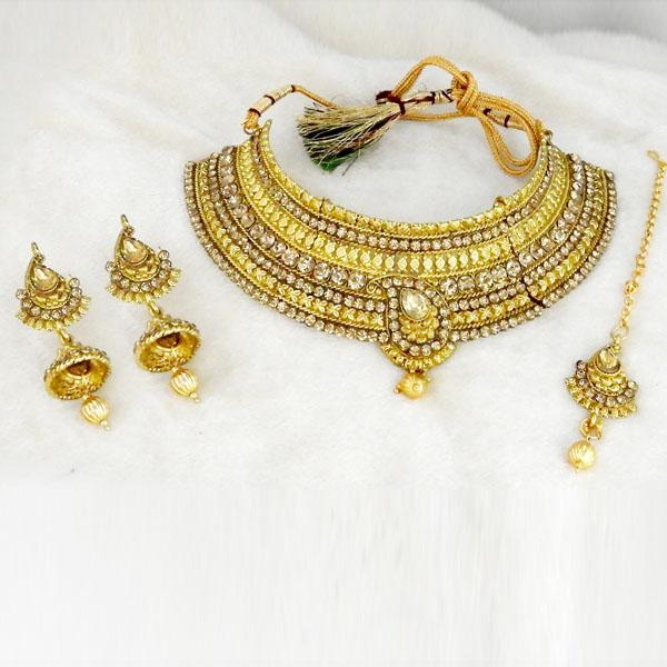 Kriaa Stone Choker Necklace Set With Maang Tikka - 1107914A