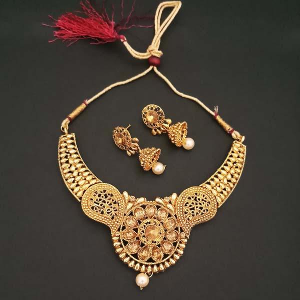 Kriaa Brown Austrian Stone Gold Plated Necklace Set - 1107922A