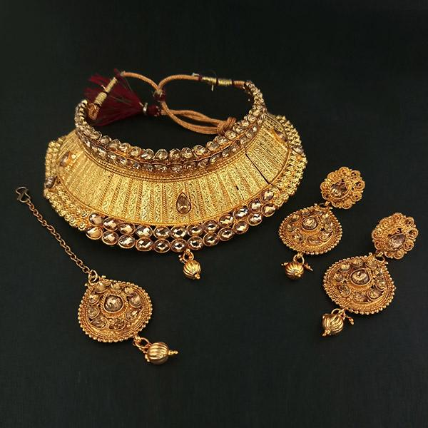 Kriaa Gold Plated Austrian Stone Necklace Set With Maang Tikka