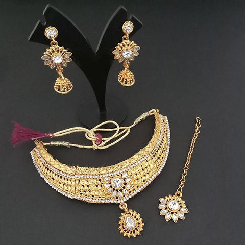 Utkrishtt Austrian Stone Necklace Set With Maang Tikka - 1107953