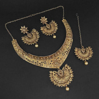 Kriaa Gold Plated Brown Austrian Stone Necklace Set with Maang Tikka - 1107984