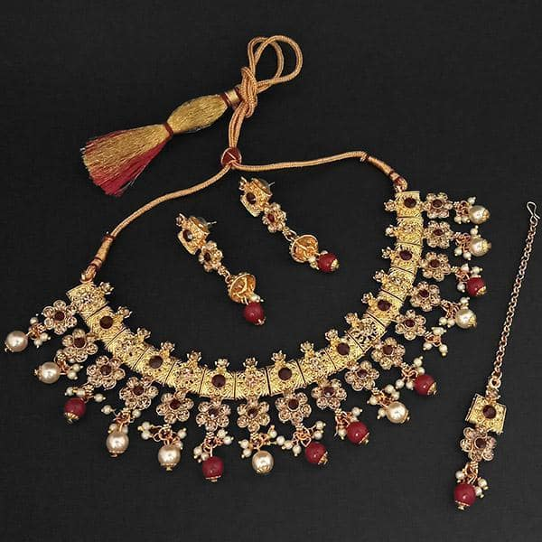 Kriaa Gold Plated Maroon Austrian Stone Necklace Set With Maang Tikka -1107991B