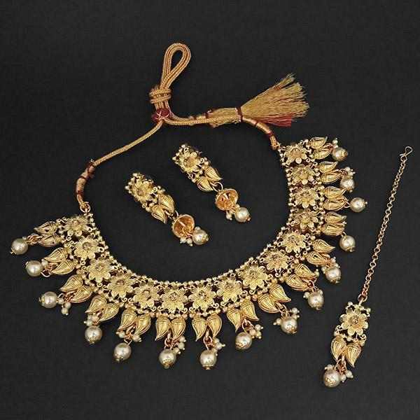 Kriaa Gold Plated Brown Austrian Stone Necklace Set With Maang Tikka -1107992A