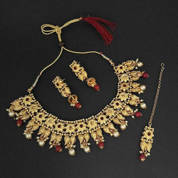 Kriaa Gold Plated Maroon Austrian Stone Necklace Set With Maang Tikka -1107992B