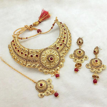 Kriaa Maroon Austrian Stone Choker Necklace Set With Maang Tikka -1107994B