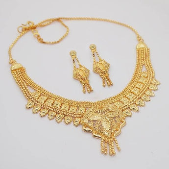 Kalyani Brass Forming Gold Plated Necklace Set - 1108105