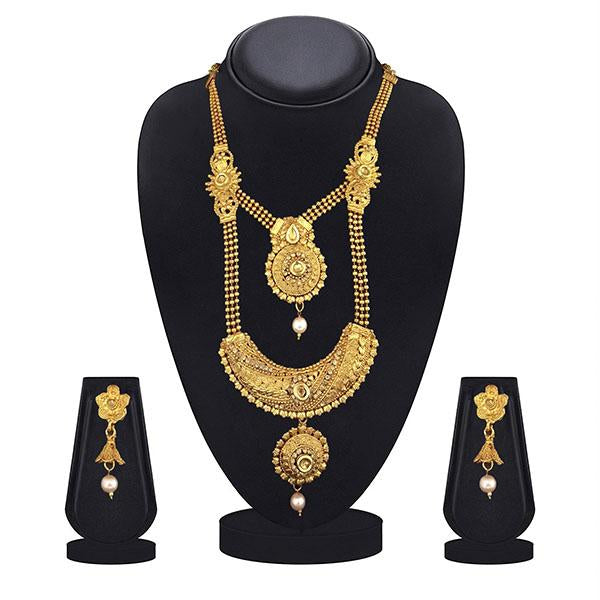 Kiaa Gold Plated Brown Kundan Double Layer Necklace Set - 1109871A