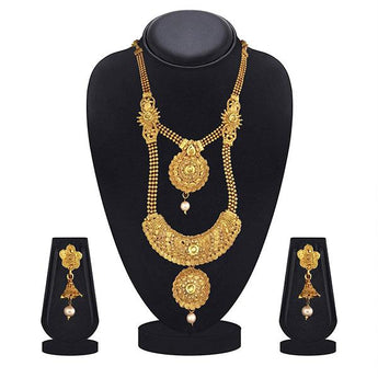 Kiaa Gold Plated Brown Kundan Double Layer Necklace Set - 1109872A
