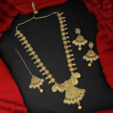 Kriaa Brown Stone And Kundan Necklace Set With Maang Tikka - 1109873