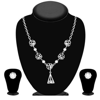 Urthn Silver Plated Austrian Stone Necklace Set - 1110104A
