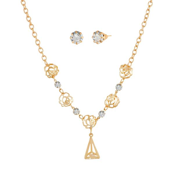Urthn Gold Plated Austrian Stone Necklace Set