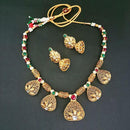 Midas Touch Maroon Stone Gold Plated Necklace Set