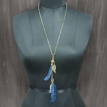 Urthn Blue Feather Gold Plated Chain Pendant - 1112515C