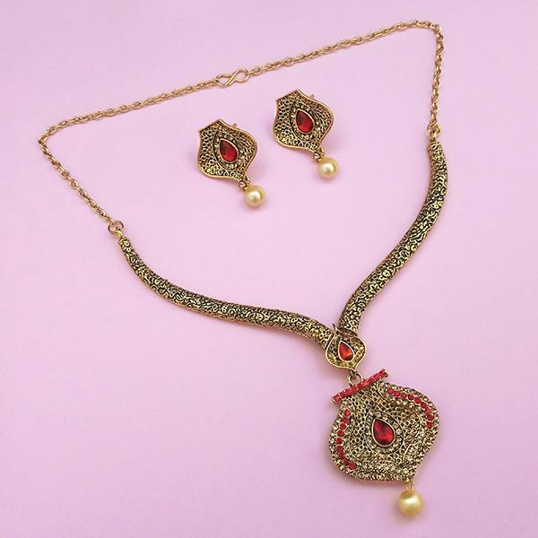 Kriaa Red Austrian Stone Gold Plated Necklace Set - 1113202B
