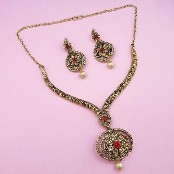 Kriaa Red Austrian Stone Gold Plated Necklace Set -1113203B