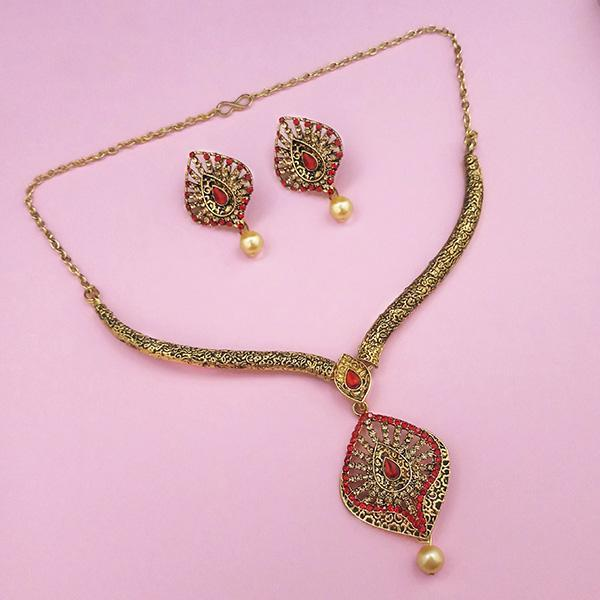 Kriaa Red Austrian Stone Gold Plated Necklace Set - 1113205B