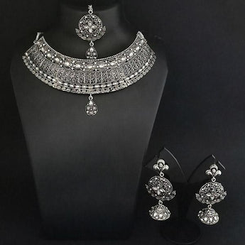 Jeweljunk Austrian Stone Oxidised Choker Necklace Set With Maang Tikka - 1113653