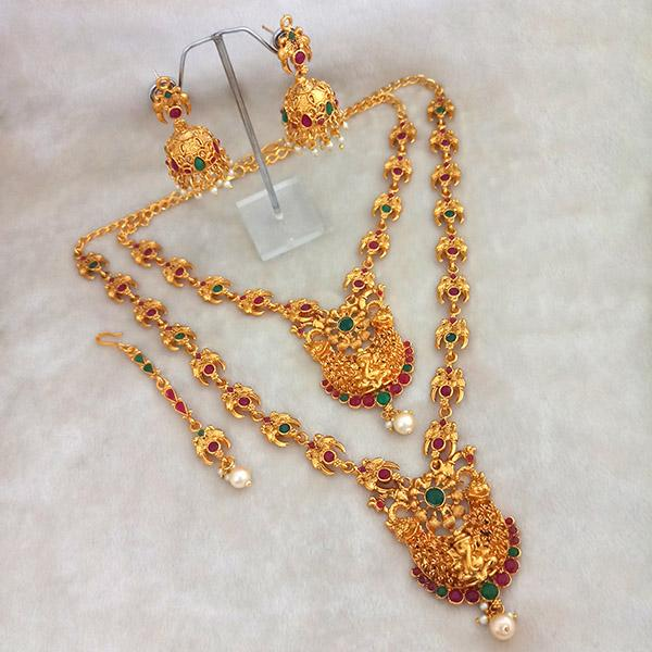 Kriaa Maroon Stone Double Gold Plated Necklace Set - 1113712
