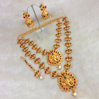 Kriaa Maroon Stone Double Gold Plated Necklace Set - 1113714