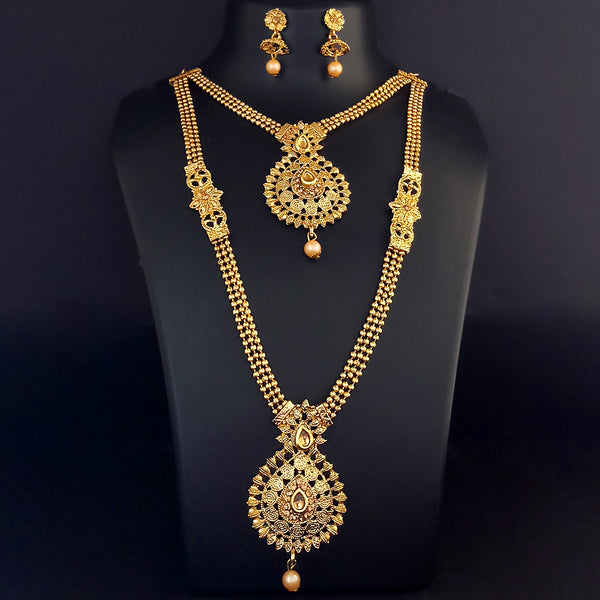 Kriaa Double Layer Gold Plated Necklace Set