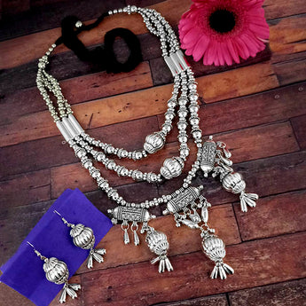 Jeweljunk Oxidised Plated Three Layer Necklace Set