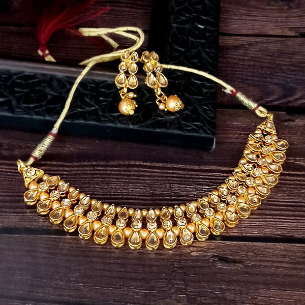 Ramdev Art  Brown Austrian Stone Gold Plated Traditional Choker Necklace Set