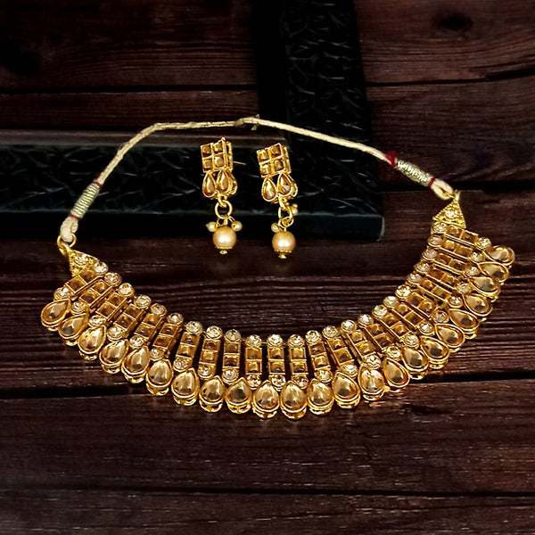 Ram Dev Art Brown Austrian Stone Gold Plated Traditional Choker Necklace Set