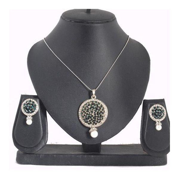 The99Jewel Green Austrian Stone Silver Plated Pendant Set - 1200405