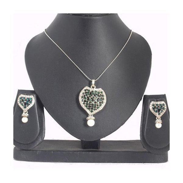 The99Jewel Green Austrian Stone Silver Plated Pendant Set - 1200412