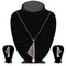 The99Jewel Maroon Austrian Stone Silver Plated Pendant Set - 1200423