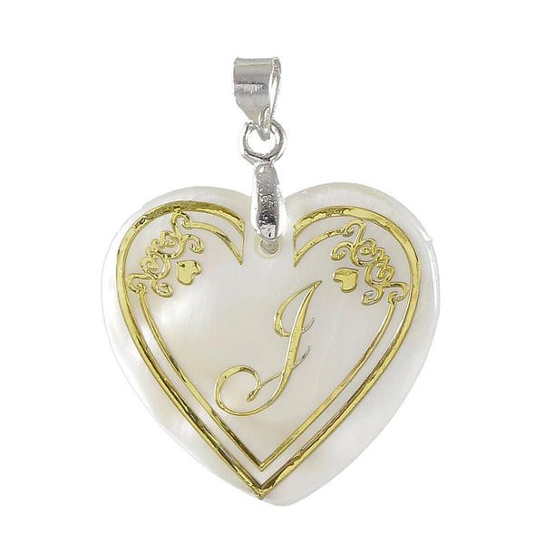 """Regina Alphabet I"" Heart Shaped Shell Pendant"