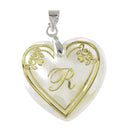"Regina Alphabet R"" Heart Shaped Shell Pendant"