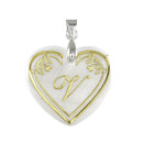 "Regina Alphabet V"" Heart Shaped Shell Pendant"