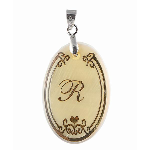 Regina R Alphabet Oval Shaped Shell Pendant