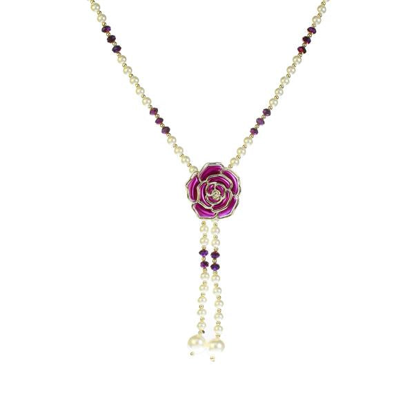 Urthn Purple Floral Pearl Gold Plated Pendant