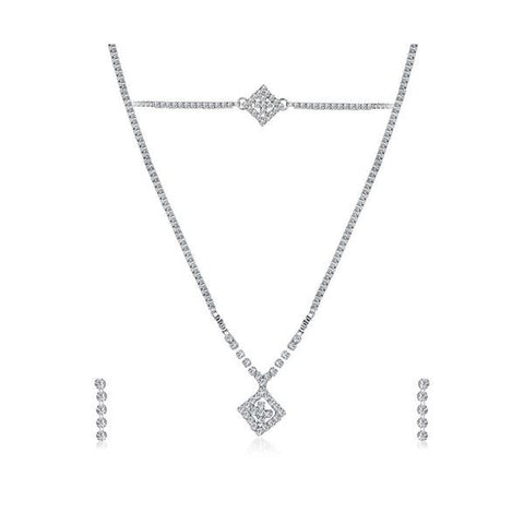 Kriaa Silver Plated Necklace Set With Bracelet - 1201904