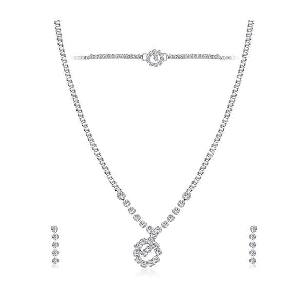 Tip Top Fashions Austrian Stone Silver Plated Necklace Set With Bracelet - 1201907